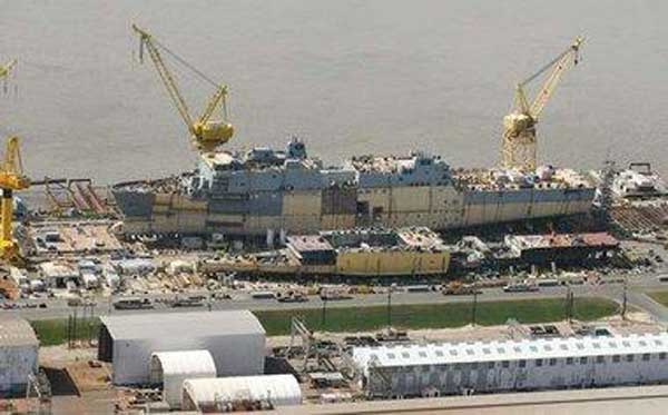 The Navy says that the 700-foot amphibious transport vessels built at Avondale Shipyard by Northrop Grumman are getting more reliable. (Credit: http://www.nola.com/politics/index.ssf/2011/03/avondale_shipyard_vessels_gett.html)