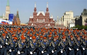 Russian military cadets of the Russian Emergency Situations ministry march during the annual Victory Day parade at Red Square in Moscow, Saturday, May 9, 2009. Victory Day, marking the defeat of Nazi Germany, is Russia's most important secular holiday, and the parade reflected the Kremlin's efforts to revive the nation's armed forces and global clout.