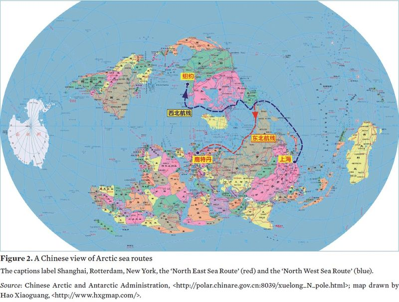 A Chinese map regarding the Arctic. Credit: SIPRI