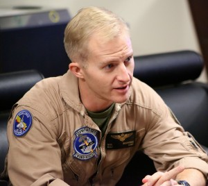 Major Rountree, VMFAT501, discusses his Harrier experience and the way ahead with the F-35b. Credit Photo: SLD