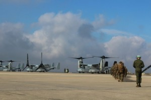 Boarding Ospreys for the training exercise. Credit Photo: Murielle Delaporte
