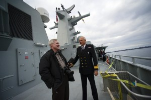 Secretary of the Navy Ray Mabus speaks with Royal Danish Navy Rear Adm. Henrik Kudsk, Island Commander of Greenland, aboard the Royal Danish Navy arctic patrol vessel HDMS Ejnar Mikkelsen. USN Media Content Services, 10/10/10